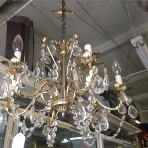 French Brass and Glass Chandelier