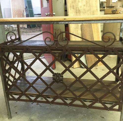 Iron and reclaimed wood console