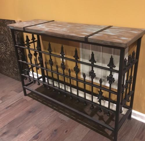 Iron and reclaimed wood console table